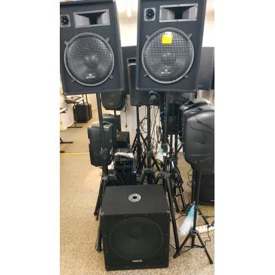 komlekts 2 + 1 divu pastiprinātāju aktīvais zemfrekvences skaļrunis